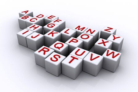 3d rendered alphabet cubes  photo
