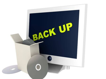 back up: illustration of a back up sign with computer monitor and compact disks