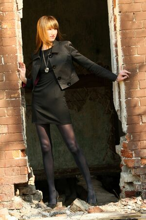Fashion Woman in business dress posing outdoor Stock Photo - 4830446