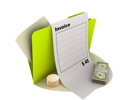 illustration of invoice icon with money on the ground