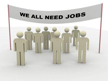 eslogan: personas que demuestren con el lema: todos necesitamos puestos de trabajo