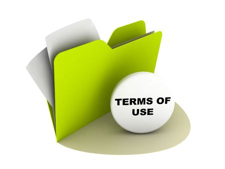 terms: illustration of a folder with terms of use button Stock Photo