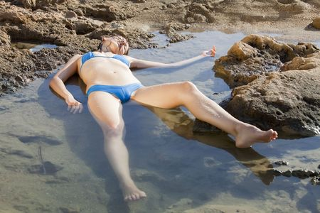 drowning woman in water photo