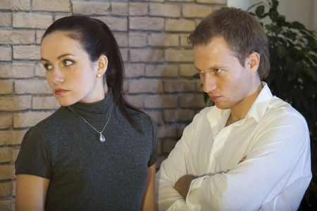 unfaithful: conflict between couple, unhappy female looking away