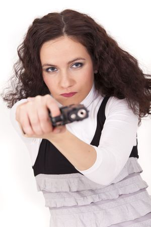 woman aiming with gun photo