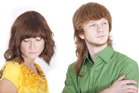 desconfianza: desconfianza entre hombre y mujer en una relaci�n  Foto de archivo
