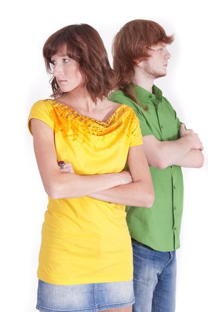 faithlessness: distrust between man and woman in a relationship Stock Photo