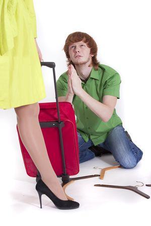 pleading: man pleading to woman do not walk away Stock Photo