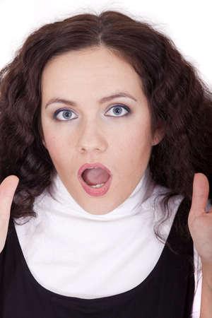 female face expression - shocked photo