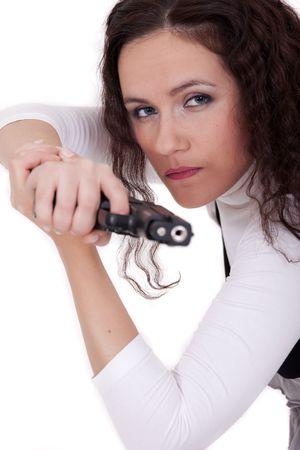 woman shooting from a gun photo