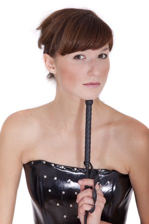 dominatrix woman with whip photo