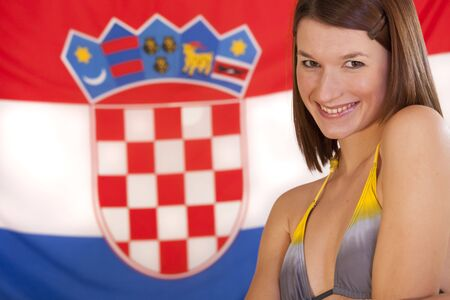 beautiful woman in bikini over croatian flag Stock Photo - 6104322