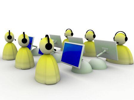 illustration of customer support team over white illustration