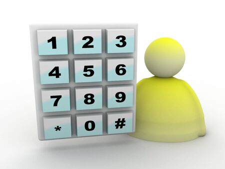 access control: illustration of keypad and icon on a white background