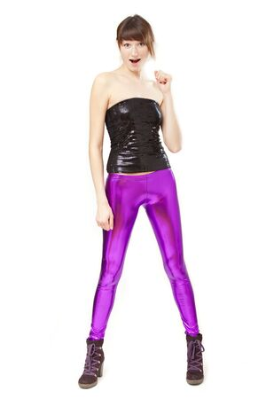 surprised woman in glossy leggings Stock Photo - 6309113