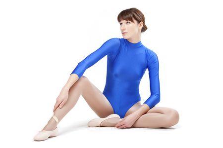 woman in blue gymnastic leotard Stock Photo - 6360737