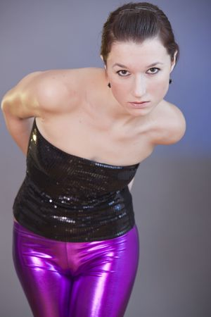 portrait of a woman in shiny leggings Stock Photo - 6395216