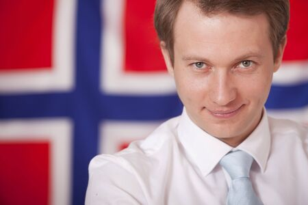 businessman posing in front of norwegian flag Stock Photo - 6500692