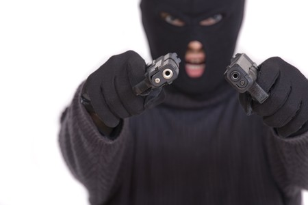 balaclava: terrorist in balaclava with two guns - isolated on white background Stock Photo