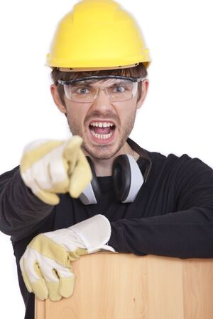 angry construction worker isolated on white background photo