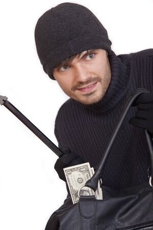 bank robber with money bag and crowbar - isolated photo