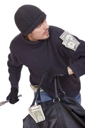bank robber running with money bag - isolated on white