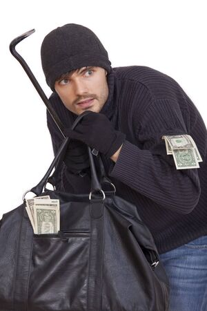 perpetrator: bank robber with crowbar, bag and money - isolated on white background