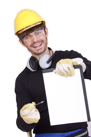 happy worker holding clipboard for signature photo