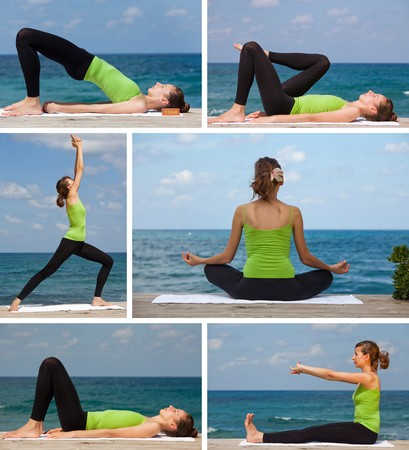 yoga exercises on the beach collage