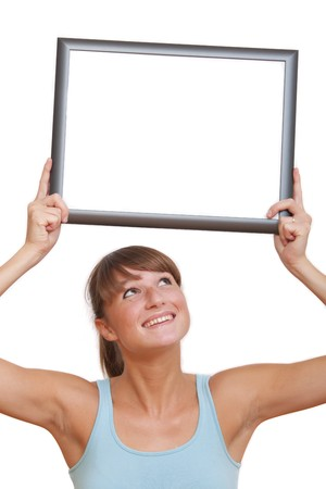 happy woman holding empty photo frame above her head - isolated on white Stock Photo - 7826177