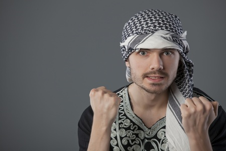 palestinian: agnry palestinian man showing both fists in the camera Stock Photo