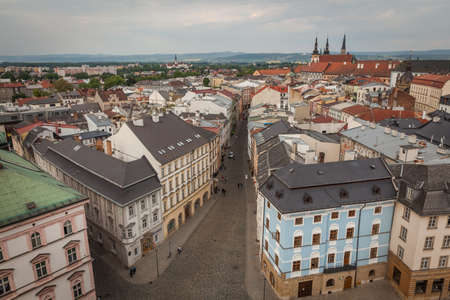 olomouc: streets and houses in the center of the city of Olomouc in the Czech Republic in the summer of birds eye view