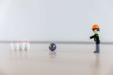 Finger bowling with childrens toys