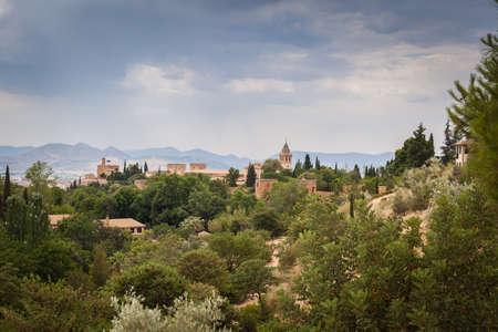 Alhambra in Spain's Granada during the summer season Stok Fotoğraf