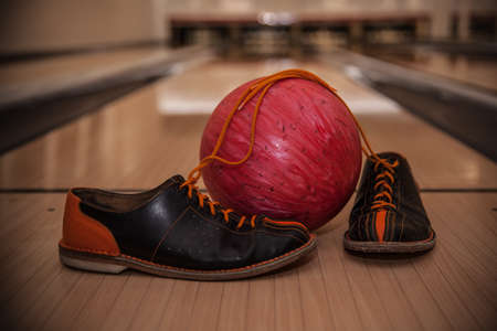 The bowling ball is ready to strike Stock Photo - 107370368