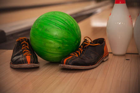 The bowling ball is ready to strike Stock Photo - 107370375