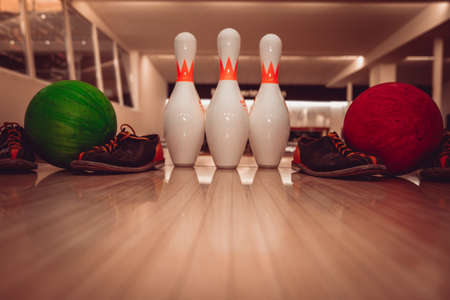 The bowling ball is ready to strike Stock Photo - 107370378