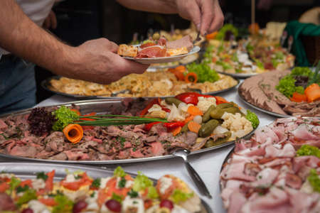 catering for corporate parties and weddings full of good food Stock Photo - 108049148