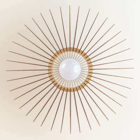round wooden light with ice bulbs hung in a white ceiling. modern design method of interior lighting