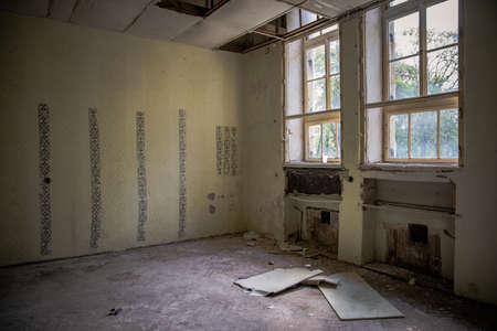 An old clinic with poor patient conditions. Neglected hygiene, field conditions. psychiatric hospital