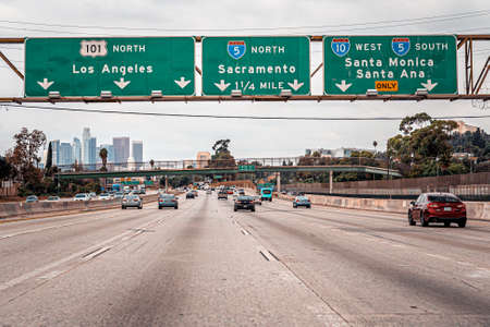 Highway towards downtown Los Angeles, California