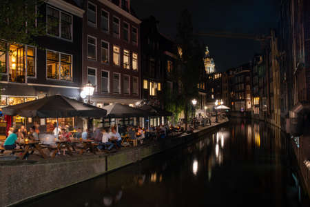 night life in holland Amsterdam during summer Stockfoto