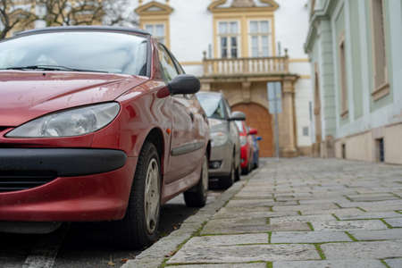 cars parked in the central streets of big cities Stock fotó