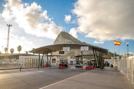 Gibraltar - January 12, 2020. Border crossing from Spain to Gibraltar. Pedestrian and vehicle inspection Stock Photo