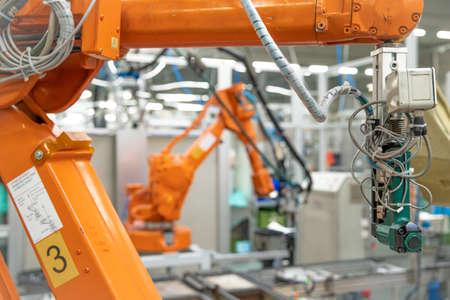 工場での近代産業のロボット化。新しいプログラム産業 4.0