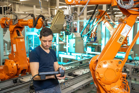 robot diagnostics using special software in the factory