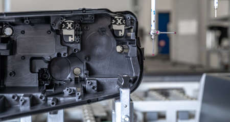 accurate 3d measurement of plastic castings on a modern machine for the automotive industry, computer controlled, program industry 4.0 스톡 콘텐츠