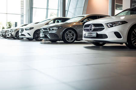 Stuttgart, Germany - August 8, 2020. new car models in the mercedes benz showroom Editorial