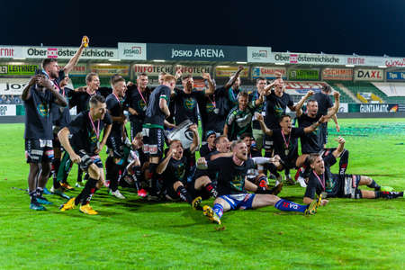 Ried, Austria - 31 July, 2020. Celebration of the victory in the football league at the Josko Arena