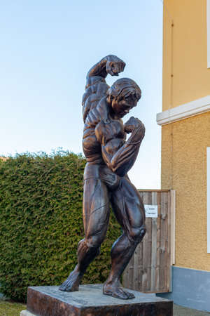 THAL, AUSTRIA - MARCH 6, 2021: Statue of Arnold Schwarzenegger in front of his museum Editorial